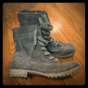 WANTED Combat Boots Charcoal Distressed Denim NWOT